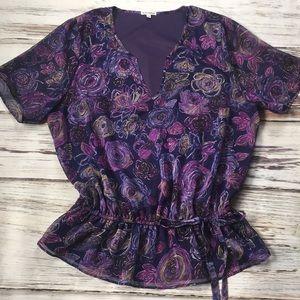 Tops - Kiyonna Top Blouse Shirt Purple Flowers 2X XXL